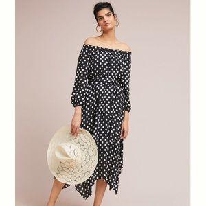 Anthropologie | off shoulder polka dot dress.
